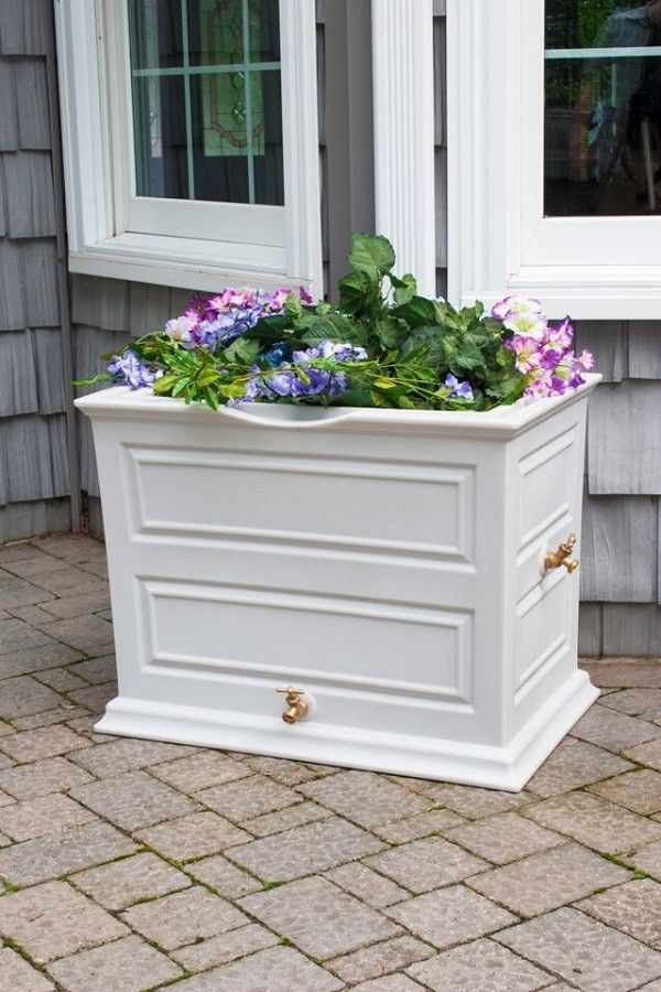 A planter and rain barrel all in one!