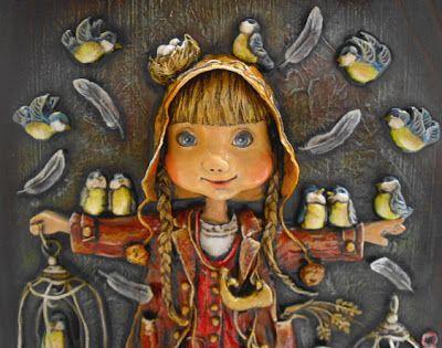 """Northern twitter"" Bas-relief of the paper. Papier mache, wood, painting tempera. Author - Artist Zherdeva Maria."