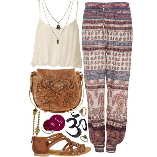 flowy pants/ white crop top/ brown sandals/ brown bag