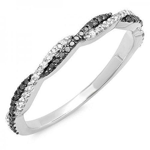 0.25 Carat (ctw) 14K White Gold Black & White Diamond Ladies Wedding Band 1/4 CT (Size 9)by DazzlingRock Collection