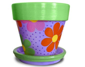 Artículos similares a Hand Painted Flower Pot Planter For Birthday Party Favors, Childrens Bathroom Organizer Or Shower Favors - 4-inch pot en Etsy