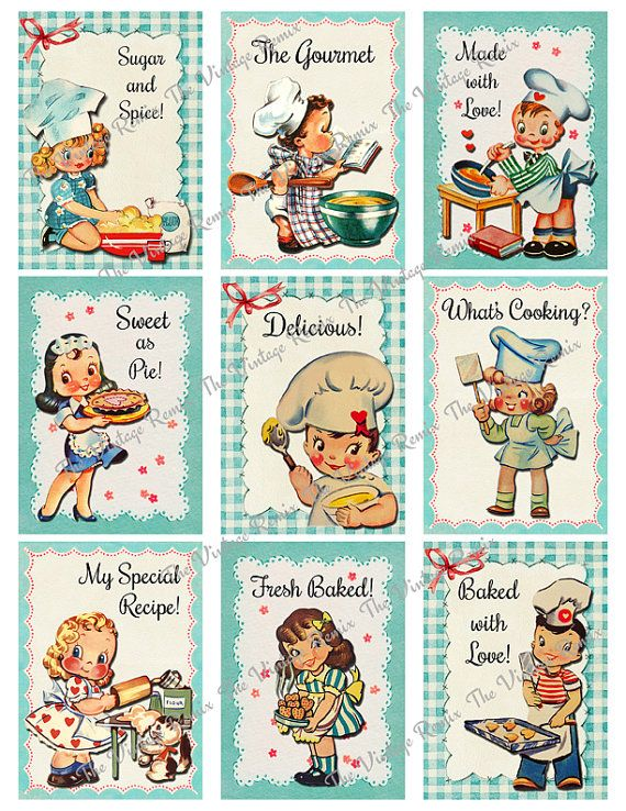 INSTANT DOWNLOAD Printable Digital Collage Sheet, Retro Kitchen Bakers and…