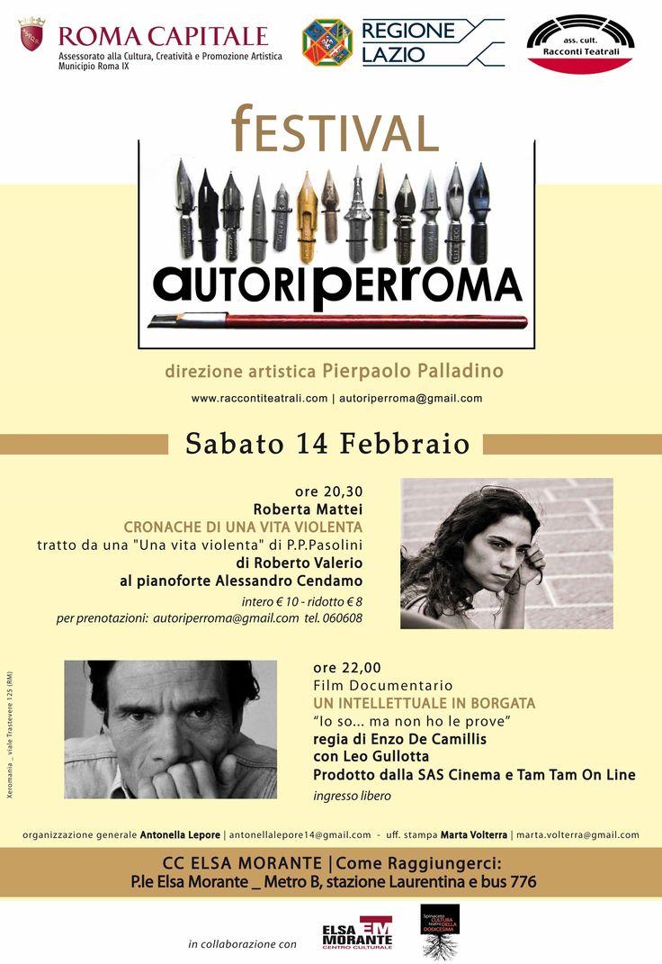 Proiezione il 14/02/2015 presso Centro Culturale Elsa Morante del docufilm  UN INTELLETTUALE IN BORGATA   di Enzo De Camillis con Leo Gullotta