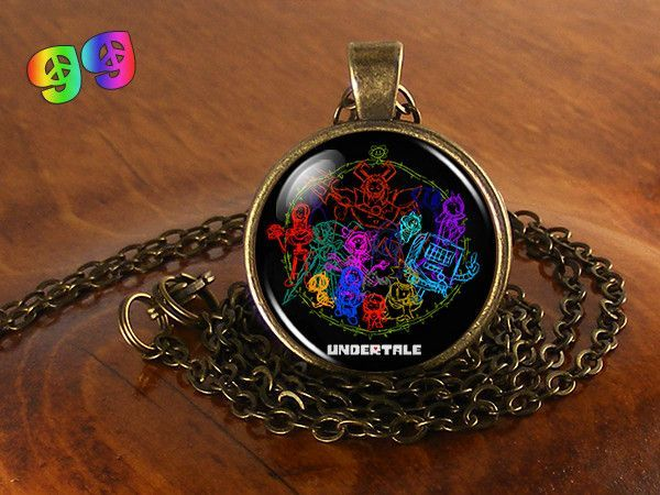 Undertale Sans & the Gang Neon Graffiti Gaming Necklace Chain & Pendant Charm Jewelry
