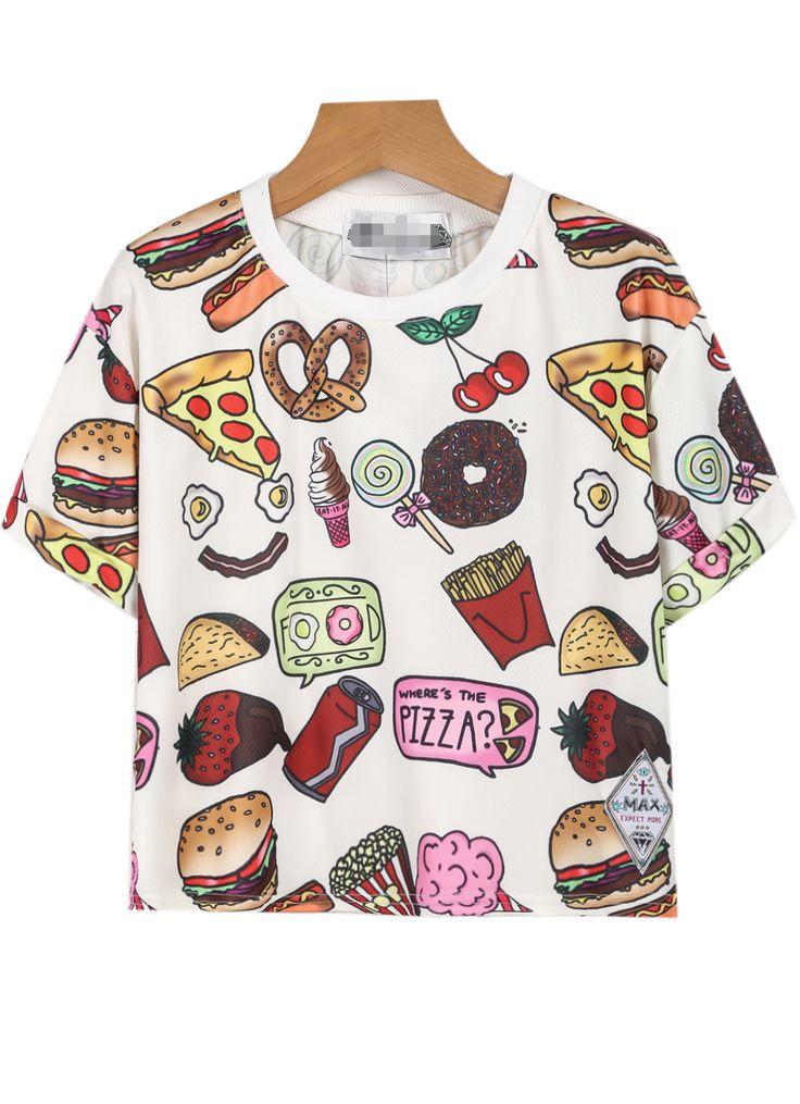 White Short Sleeve Fast Food Print T-Shirt 11.83