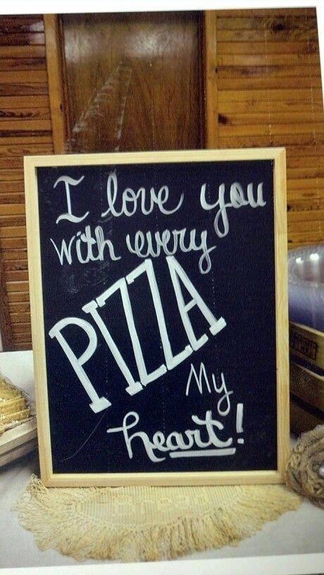 Pizza buffet at rustic wedding