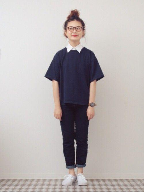 #Tシャツ×デニム #付け襟 #シンプル #ネイビー×ホワイト #スキニーデニム