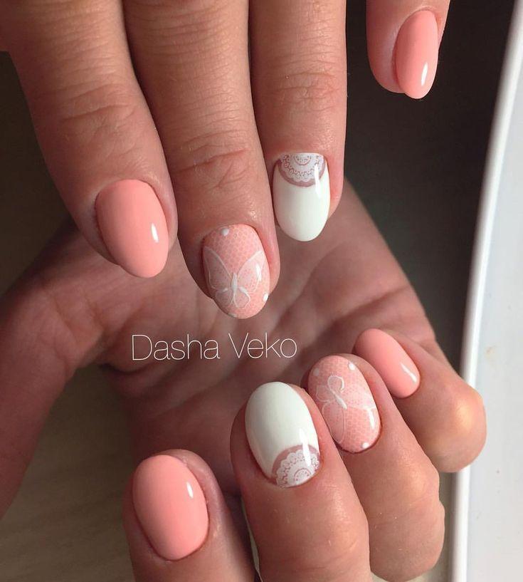 Бело-персиковый маникюр, Двухцветный маникюр, Дизайн ногтей под персиковое платье, Дизайн ногтей с бабочками, Дизайн овальных ногтей, Идеи маникюра на короткие ногти, Идеи персикового маникюра, Маникюр персикового цвета