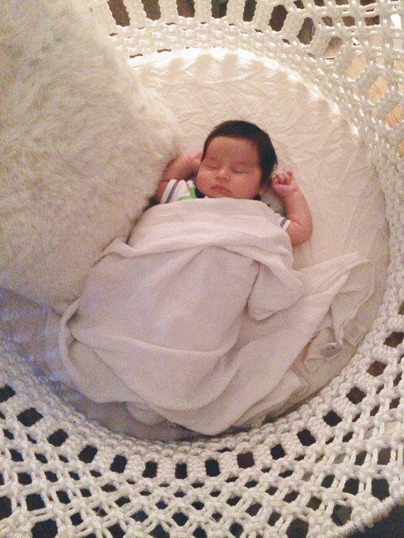 Macrame bohemian round baby basinet by MacrameWithLove on Etsy
