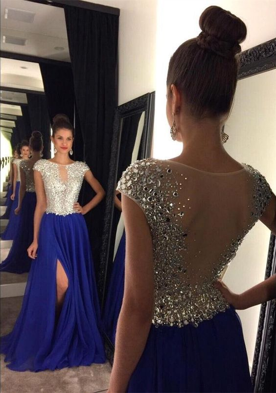 Silver Beaded Prom Dress with Cap Sleeves,Royal Blue Chiffon Formal Dress,Slit on Skirt Pageant Dress,2126