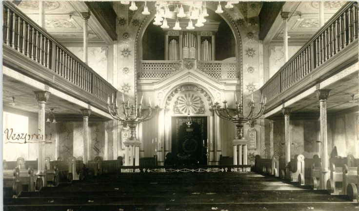 The synagogue, interior in the 1930's
