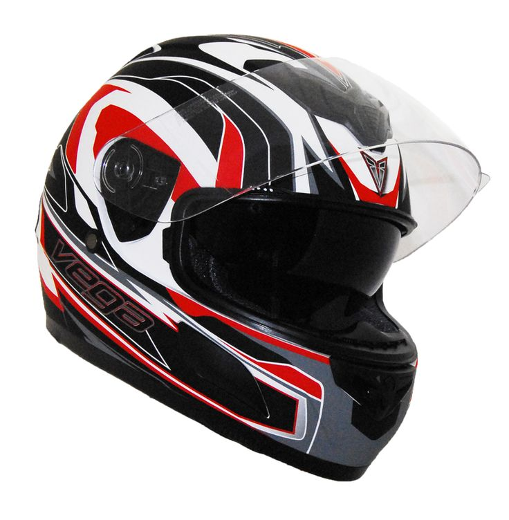 Helmet by Vega - Scooter Motorcycle Moped Helmets - Insight Full Face Flat White/Red > Part #V6839RED181