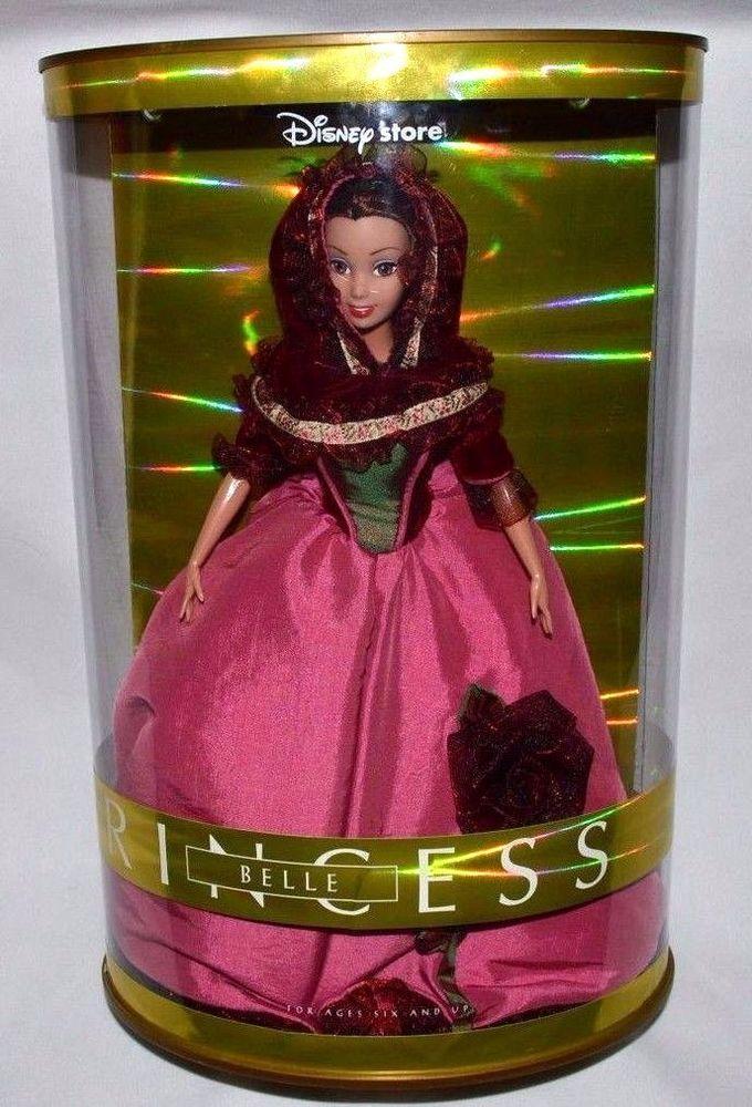 DISNEY STORE PRINCESS BELLE-BEAUTY & THE BEAST DOLL-ROSE WINTER DRESS-LIGHT BOX #DISNEY #DollswithClothingAccessories