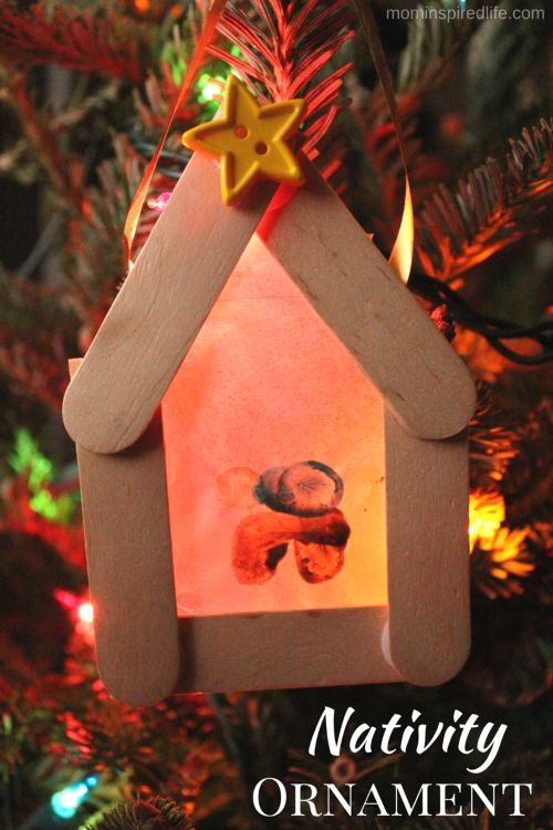 Kid-Made Nativity Ornament inspired by the book Room for a Little One. Stable ornament that is easy enough for young kids to make.