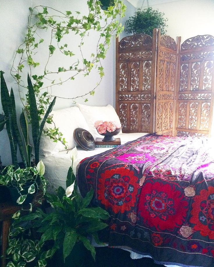 Boho Bedroom With Plant Accents