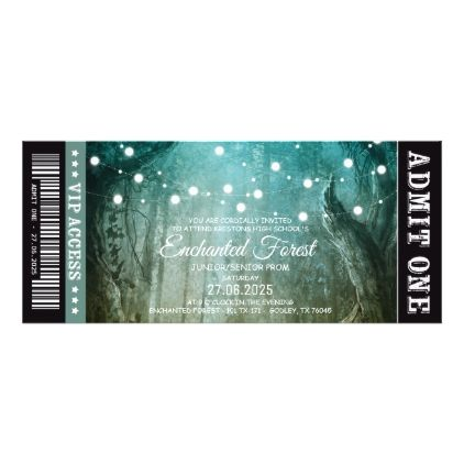 Enchanted Forest String Lights Prom Tickets Card - invitations custom unique diy personalize occasions