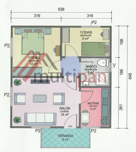 MP2 45 Square Meters Separate Lounge / Kitchen 2 Bedrooms 1 Bathroom