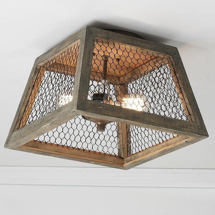 "Square Chicken Wire Shade Ceiling Light  (10""Hx14""W)  2x60 watts max (medium base sockets)."