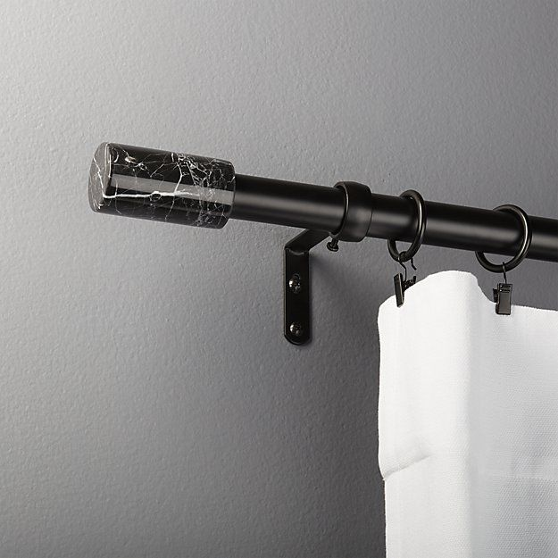 cb2 black with black marble curtain rod