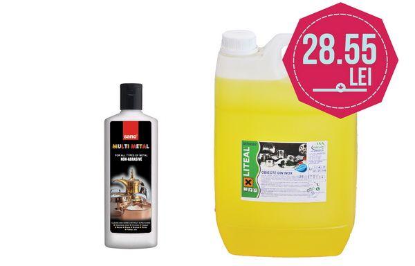 La cumpararea unui bidon de detergent inox la 5 L la pretul de 21,55lei/bidon+tva, primesti un detergent pentru metale la doar 7 lei/flacon+tva.