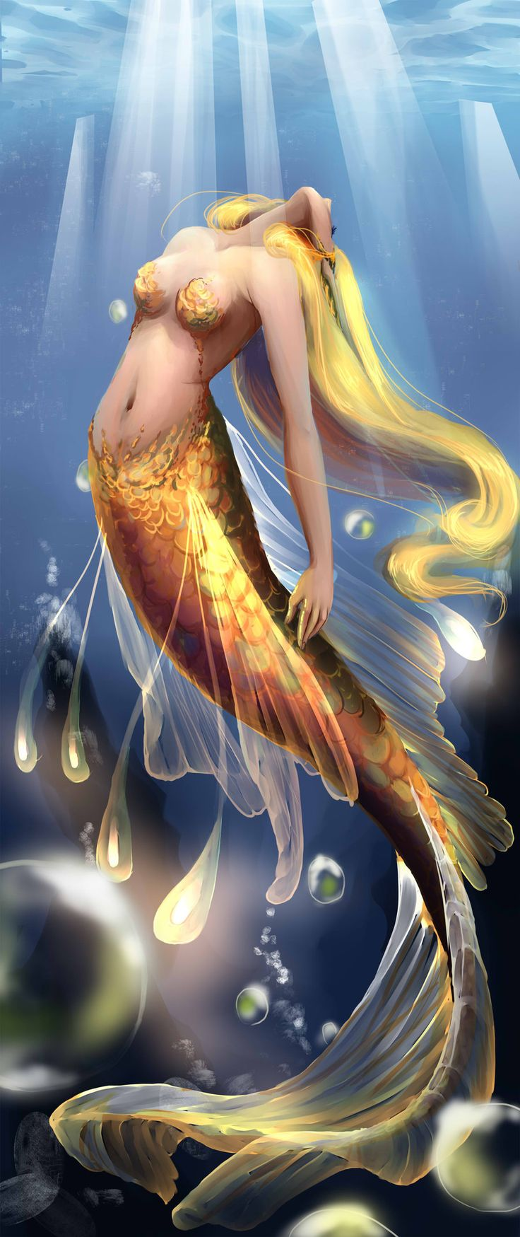 Myhme, the sea godess. She doesn't have a real form but she often takes the shapes of a gorgeous mermaid. Myhme rules the oceans, making her the only divine being that actually moved its ass down to be with mortals.