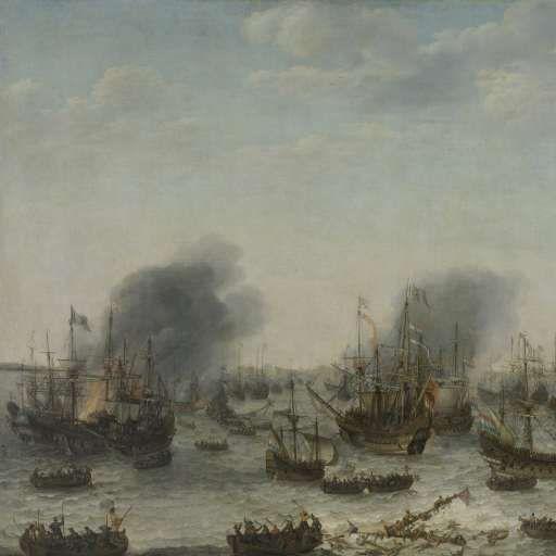 Naval battle near Gibraltar, 25 April 1607 (Victory over the Spanish near Gibraltar by a Fleet Commanded by Admiral Jacob van Heemskerck), Adam Willaerts, 1639 - Rijksmuseum