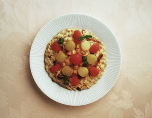 Risotto mit Tomaten, Topinambur und Kürbis Rezept