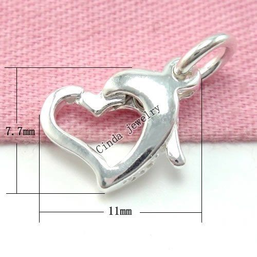 Free Shipping 10pcs 925 Sterling Silver Heart Lobster Claw Clasp Fit DIY Craft Jewelry 7.7X11mm W292-in Clasps & Hooks from Jewelry on Aliexpress.com | Alibaba Group