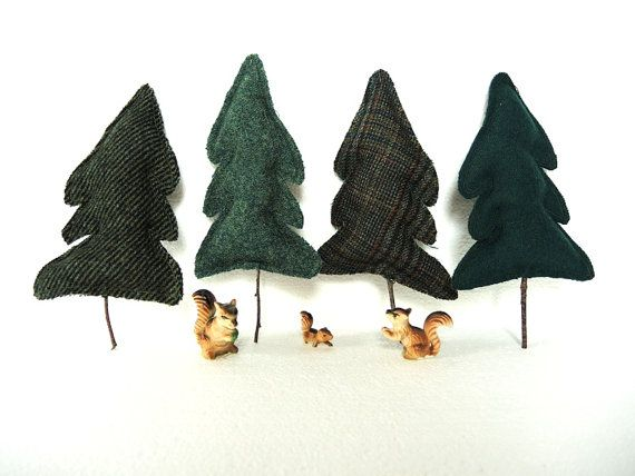 Tree Upcycled Wool Balsam Fir Tree Set of 4 Eco by InJoyEmporium