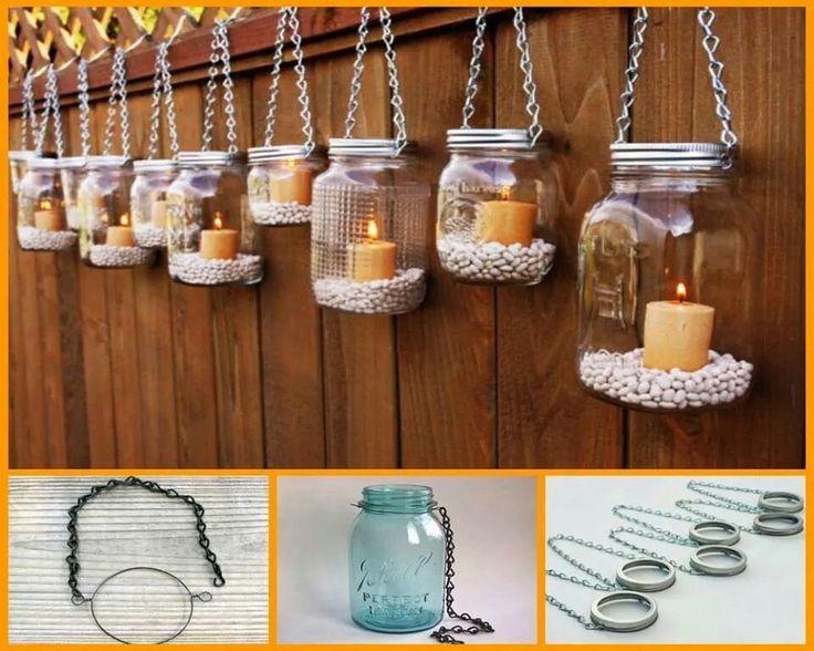 Candelabros colgantes con envases de vidrio