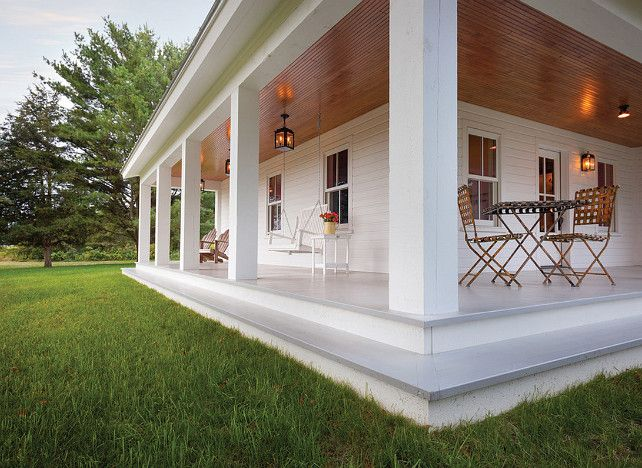 Porch Steps. Porch with painted wood floors and wooden steps. Clean design for wrap around porch and porch steps. #porch #PorchSteps