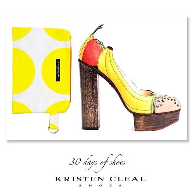 Fruit Tingle cocktail tonight!? I definitely need one! SHOE #23 of 30- Charlotte Olympia, Fruit Pumps (About $1,500) from her Spring/Summer Collection 2011 named 'Blame it on Rio'. Matched with Kristen Cleal Shoes very own Limoncello Cosmetic Bag $25 on Etsy now! www.etsy.com/au/shop/KristenCleal. Loving the chunky wooden heel- Fruity, fun