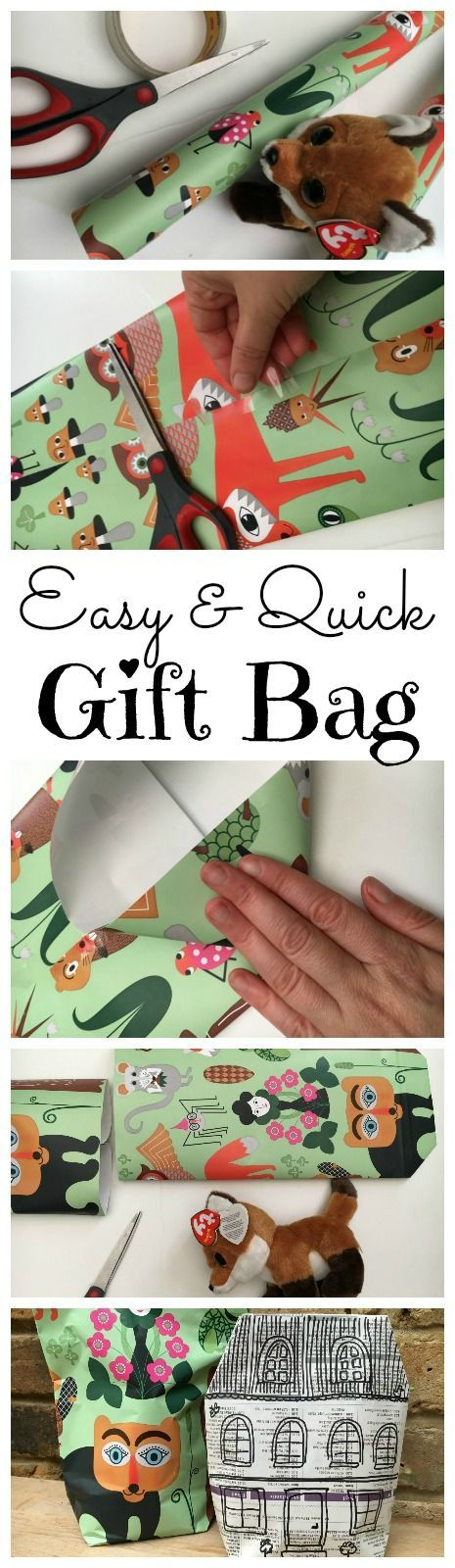 """Easy DIY Gift Bag - these gift bags are super quick and easy to make and great for """"awkward shaped gifts"""". Love that you can make them from Gift Wrap, Brown Paper and even Newspapers! A great newspaper diy upcycle for sure. And perfect for last minute gift wrapping!"""