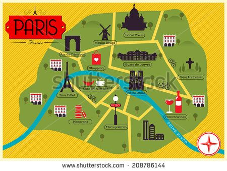 City Map Illustration of Paris. Landmarks and Vector Map Icons.