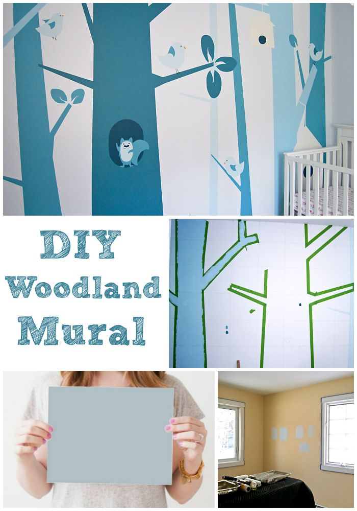 how to: woodland nursery…exactly the flavor of forest we want…just greens instead of blues! loving that this blue nursery belongs to a little girl! get it!!!