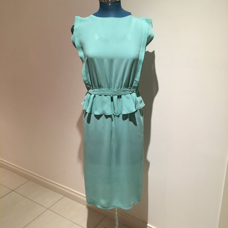Vintage 1980's Mint Green Day Dress w Peplum by VivienneVIXEN on Etsy