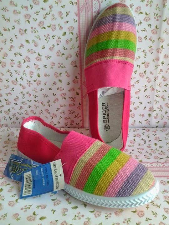 FLAT SHOES: Sepatu Toms Garis Pink