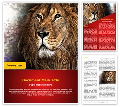 Download our professional #Word #template on king lion now. Prepare #documents and #marketing #material with our king lion editable Word #template affordably and quickly. This royalty #free king lion word template could be used very effectively for #themes and #backgrounds related to king lion, endangered wild #animals, #extinct #animals, leadership and such topics.