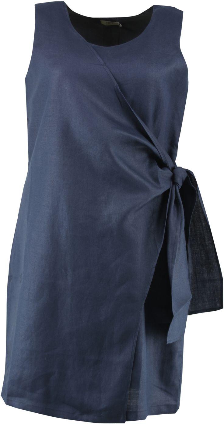 Jurk linnen met overslag/ gevoerd :: jurken :: Grote maten - mode online | Gratis verzendig | Bagoes fashion