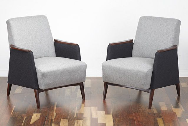 A beautiful pair of armchairs, circa 1960. Lovely design with angular shape and tapered and splayed legs so typical of an era. The chairs are solid, heavy and of very good quality. www.viremo.co.uk