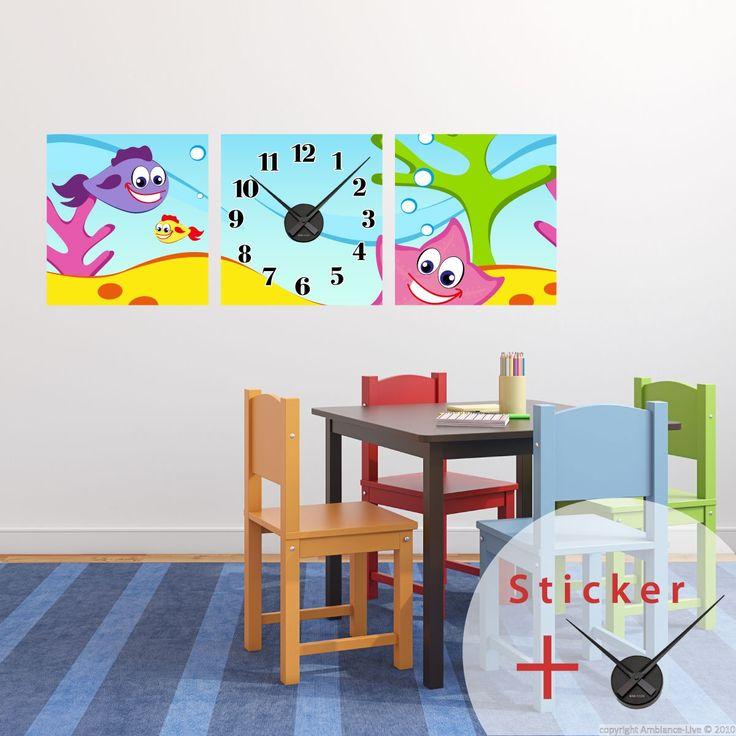 Sticker horloge Vie aquatique - Stickers STICKERS SPECIAUX Stickers Horloges - ambiance-sticker