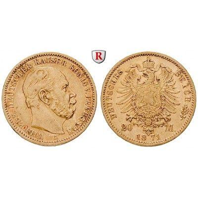 Deutsches Kaiserreich, Preussen, Wilhelm I., 20 Mark 1871, A, ss+, J. 243: Wilhelm I. 1861-1888. 20 Mark 1871 A. J. 243; GOLD, sehr… #coins