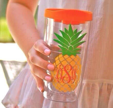 Monogrammed Pineapple Tumbler by ToPrepfection on Etsy