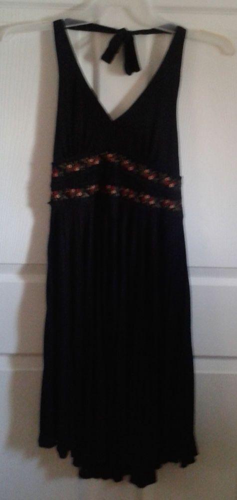 Signature Robbie Bee Black Dress 6p Small Halter Floral Red Pin-Up Dance USA  #RobbieBee #EmpireWaist #LittleBlackDress