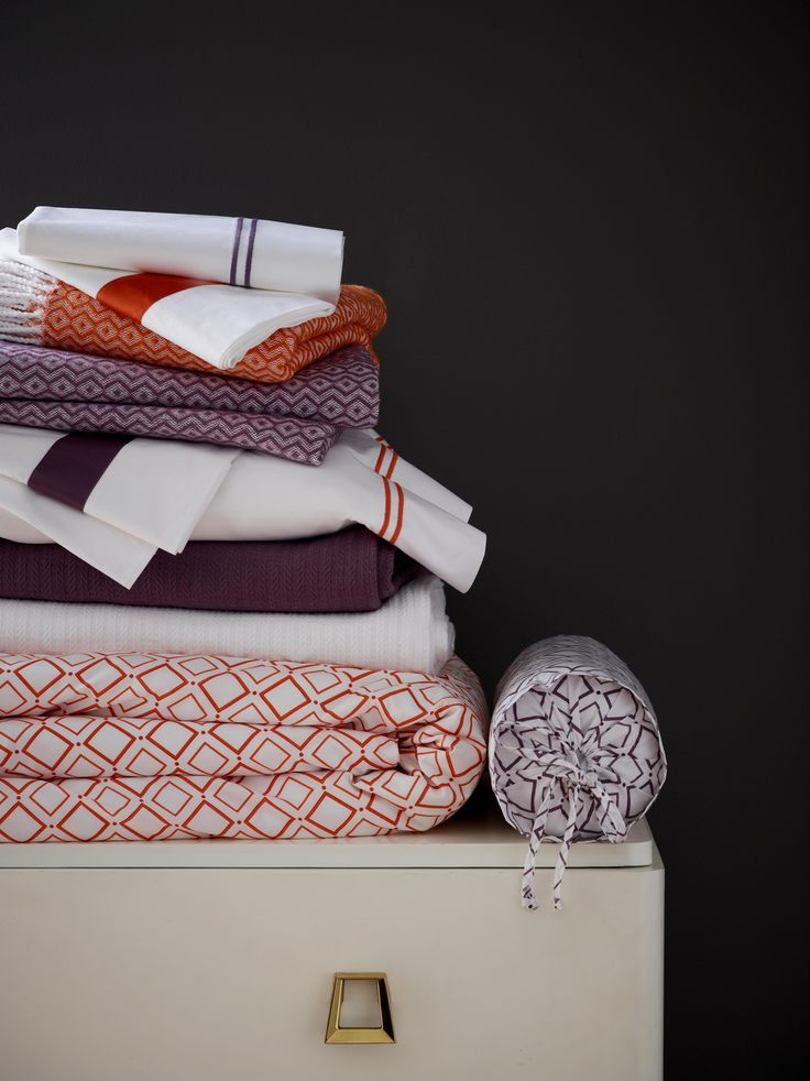 SFERRA's Deagan printed duvet covers and shams coordinate with Grande Hotel and Orlo sheeting, Grant blankets, and new Burke throws.
