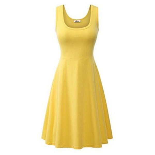 Women's Women Summer Beach Casual Flared Tank Dress ($9.99) ❤ liked on Polyvore featuring dresses, yellow, beachy dresses, yellow beach dress, beige dress, beige summer dress and day summer dresses