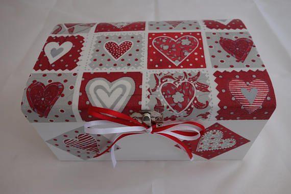 Patchwork heart treasure chest box