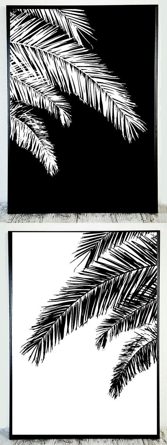 Black White Palm Printable Palm Black White Print by CristylClear