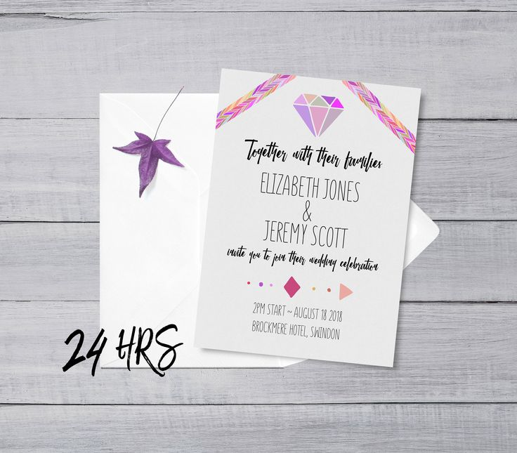 Geometric Bright Coloured Festival Quirky Tribal Eighties Inspired Customisable Wedding invitation suite to print at home - RSVP cards - Diamond - Pink and Purple wedding