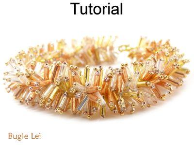 Beaded Bugle Lei Fringe Bracelet Beading Pattern Tutorial   Simple Bead Patterns